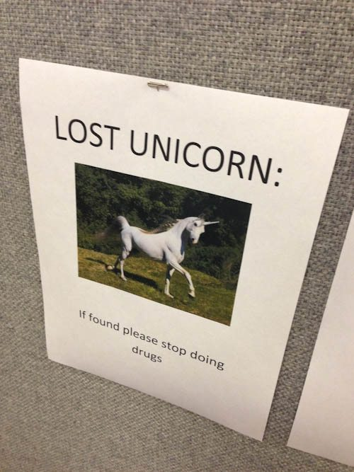 wtf college lost unicorn sign