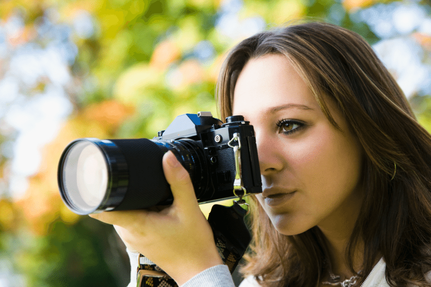 College Girl Taking Photographs - Photographer