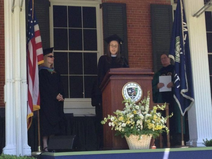 Brittney Helmrich Speaking at Graduation Drew University